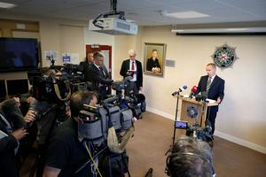 Photographer ©Matt Mackey - Presseye.com 20th August 2015   Police Service of Northern Ireland Detective Superintendent Kevin Geddes talks to the media at PSNI Headquarters, Brooklyn House in East Belfast.