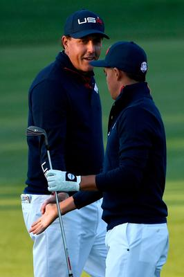 CHASKA, MN - OCTOBER 01: Phil Mickelson and Rickie Fowler of the United States react after a shot on the second hole during morning foursome matches of the 2016 Ryder Cup at Hazeltine National Golf Club on October 1, 2016 in Chaska, Minnesota.  (Photo by Ross Kinnaird/Getty Images)
