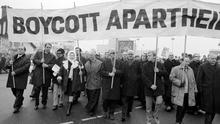 Bishops lead a peaceful anti-apartheid demonstration by 2,000 people marching from Twickenham station to the rugby ground, before the start of the England v South Africa match (PA)