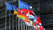 Flags of the European Union fly outside the European Parliament in France.  (Photo by Christopher Furlong/Getty Images)