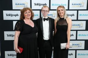 Press Eye - Belfast - Northern Ireland - 2nd May 2019 -   Donna Matchett, Rory Copeland and Alison Forsythe pictured at the Belfast Telegraph Business Awards in association with Ulster Bank at the Crowne Plaza Hotel, Belfast. Photo by Kelvin Boyes / Press Eye.