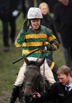 At Fishers Cross with jockey Tony McCoy after winning The Albert Bartlett Novices' Hurdle Race during the Cheltenham Gold Cup Day on Day Four of the 2013 Cheltenham Festival at Cheltenham Racecourse, Gloucestershire. PRESS ASSOCIATION Photo. Picture date: Friday March 15, 2013. See PA story RACING Cheltenham. Photo credit should read: Joe Giddens/PA Wire