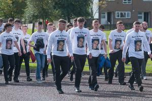 Mourners arrive at the funeral of Jordan McConomy, who was fatally injured last weekend in William Street, Derry, arrives at St Joseph's Church in Galliagh. Picture Martin McKeown. Inpresspics.com. 30.09.17