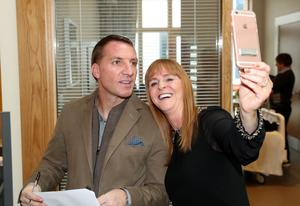 Taking a selfie with a member of staff