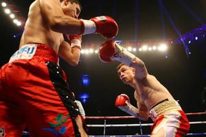 Belfast's Carl Frampton in action against Hugo Cazares from Mexico during Friday night's WBC Super-Bantamweight title final eliminator at Belfast's Odyssey Arena