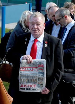People arrive at the Hillsborough Inquest in Warrington, where the jury will return to court to deliver their conclusions into the deaths of 96 fans at Britain's worst sporting disaster. PRESS ASSOCIATION Photo. Picture date: Tuesday April 26, 2016. See PA story INQUEST Hillsborough. Photo credit should read: Owen Humphreys/PA Wire