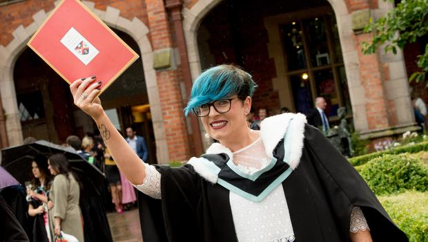 Celebrating graduation success from Queens University Belfast is Imelda Ward, who graduated with a degree in Liberal Arts from St Mary's College University Belfast.