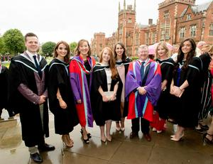 Students celebrating success as they graduate with a degree in Science Education from St Mary's University College Belfast. Pictured L-R: Miceal Muldoon, Caoimhe Glass, Course Team Leader Dr Catherine Quinn, Gemma Manson, Seana McCracken, Rebecca Coulter, Senior Lecturer Dr Sean Prenter, Seana McCracken and Maria Lynn