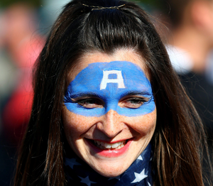 A USA fan arrives for the Rugby World Cup match between Samoa and the USA at the Brighton Community Stadium, Brighton. PRESS ASSOCIATION Photo. Picture date: Sunday September 20, 2015. See PA story RUGBYU Samoa. Photo credit should read: Gareth Fuller/PA Wire. RESTRICTIONS: Editorial use only. Strictly no commercial use or association without RWCL permission. Still image use only. Use implies acceptance of Section 6 of RWC 2015 T&Cs at: http://bit.ly/1MPElTL Call +44 (0)1158 447447 for further info.