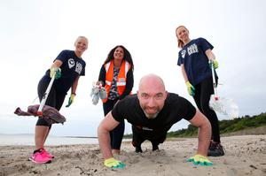 Gillian Shields of Coca-Cola with Karina Magee and Jodie McAneaney of Keep Northern Ireland Beautiful with personal trainer Jim Gordon
