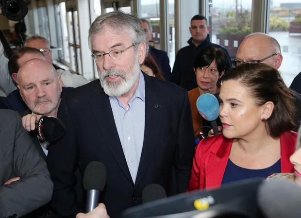 NI Assembly Election 2017 Count at Titanic Exhibition Centre in Belfast for Belfast East,  Belfast North, Belfast South and Belfast West constituencies. Sinn Fein President Gerry Adams talks to the media as he arrives at the count centre. Photo by Jonathan Porter / Press Eye.