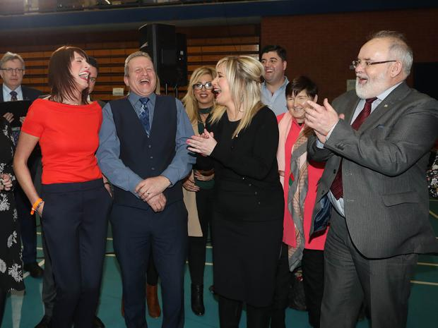 Press Eye - Belfast - Northern Ireland - 3 March 2017 - NI Assembly Election 2017 Count at Seven Towers Leisure Centre in Ballymena for North Antrim and Mid Ulster constituencies. Photo by John McIlwaine / Press Eye  Sinn  Fein  candidates Linda Dillon and Ian Milne are congratulated by party leader Michelle O'Neill and Francey Molloy after their election to Mid Ulster on the third count