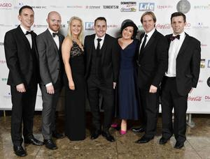 Press Eye - 12th November 2014 2014 Pubs awards at the Lamon Hotel. Samuel Hagan Rea,Bara Best,Fiona Brown,Stephen Davidson , Nicola Daly Mike Todd and Martin Breen Picture by Stephen Hamilton / Press Eye.