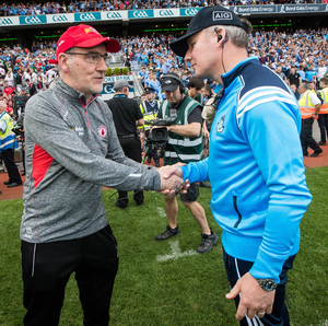 Drawing board: Mickey Harte with Dublin boss Jim Gavin after the Red Hands' Croke Park thrashing