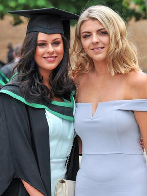 Graduating from Ulster University today is Claire McErlean, with a degree in Computing Technologies. Pictured with Claire is sister Kate McErlean. Photo by SImon Graham Photography