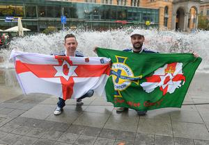 PACEMAKER BELFAST   10/10/2016 Northern Ireland's  Fans (From L-R) Geoff Bannatyne and Steve Smith in Hannover for Northern Ireland's World Cup Qualifier against Germany on Tuesday evening. Photo Colm Lenaghan/Pacemaker Press