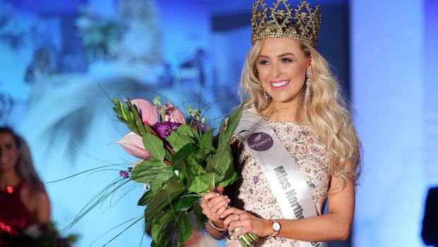 Pacemaker Press 29/0518  Katharine Walker, the new Miss Northern Ireland, after winning this year's event at the Europa Hotel on Monday evening.  Pic: Pacemaker