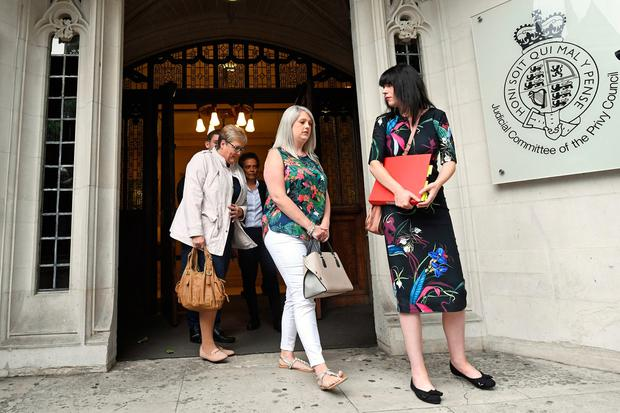 Grainne Teggart (right) and Sarah Ewart (centre) outside the Supreme Court, Westminster where UK's highest court is to rule on Northern Ireland abortion law challenge. PRESS ASSOCIATION Photo. Picture date: Thursday June 7, 2018. See PA story COURTS Abortion. Photo credit should read: Stefan Rousseau/PA Wire