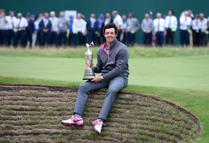 Northern Ireland's Rory McIlroy with the Claret Jug after winning the 2014 Open Championship at Royal Liverpool Golf Club, Hoylake.