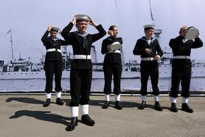 Press Eye - Belfast - Northern Ireland - 31st May 2016 -   HMS CAROLINE MARKS 10,000 IRISH SAILORS IN WW1  HMS Caroline, one of the worldÕs most historically significant war ships, is the focus of a unique commemoration of 10,000 Irish sailors who participated in the First World War on Tuesday May 31.   Moored in Alexandra Dock in BelfastÕs QueenÕs Island the ship which has undergone a major Heritage Lottery Fund-backed restoration programme, joins commemorative events across the UK including Jutland Bank in the North Sea and Kirkwall in Orkney where the British Grand Fleet mobilized ahead of the Battle of Jutland.  Cadets make final preparations at HMS Caroline.  Photo by Kelvin Boyes / Press Eye