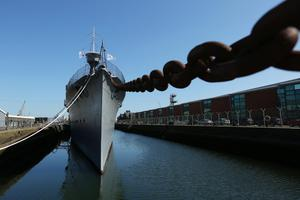 Press Eye - Belfast - Northern Ireland - 31st May 2016 -   HMS CAROLINE MARKS 10,000 IRISH SAILORS IN WW1  HMS Caroline, one of the worldÕs most historically significant war ships, is the focus of a unique commemoration of 10,000 Irish sailors who participated in the First World War on Tuesday May 31.   Moored in Alexandra Dock in BelfastÕs QueenÕs Island the ship which has undergone a major Heritage Lottery Fund-backed restoration programme, joins commemorative events across the UK including Jutland Bank in the North Sea and Kirkwall in Orkney where the British Grand Fleet mobilized ahead of the Battle of Jutland.  General view of HMS Caroline.  Photo by Kelvin Boyes / Press Eye