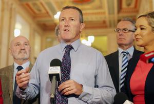 10th September  2015  Sinn Fein's Conor Murphy(centre) along with party colleagues speak to the press in the Great Hall in Parliament Buildings at Stormont ahead of today's meetings to decided the future of the Northern Ireland Assembly.  It is to be decided today whether the Assembly will be suspended.   Picture by Jonathan Porter/PressEye