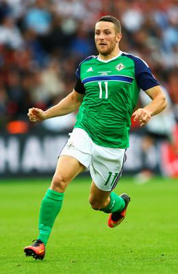 PARIS, FRANCE - JUNE 21: Conor Washington of Northern Ireland in action during the UEFA EURO 2016 Group C match between Northern Ireland and Germany at Parc des Princes on June 21, 2016 in Paris, France.  (Photo by Clive Mason/Getty Images)