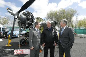 Press Eye - Belfast - Northern Ireland - 15th May 2012 - First day of the 2013 Balmoral Show in partnership with Ulster Bank at the new site, Balmoral Park.  First Minister Peter Robinson and Jeffrey Donaldson meets Ray Burrows from the Ulster Aviation Society at the beginning of the show. Picture by Kelvin Boyes / Press Eye