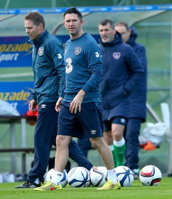 Primed: Robbie Keane in training yesterday ahead of the Republic's clash with Scotland