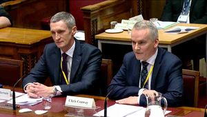Translink chief Chris Conway and financial officer Paddy Anderson. Picture: Assembly Live