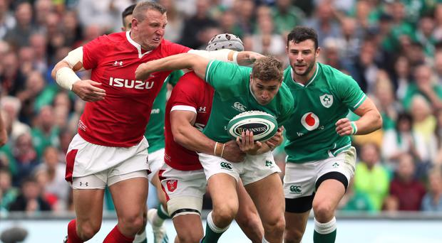 Jordan Larmour, front, will start at full-back for Ireland on Sunday (Brian Lawless/PA)