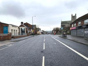The normally very busy Woodstock Road in East Belfast on Wednesday March 25th PACEMAKER BELFAST
