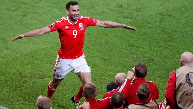 Wales' Hal Robson Kanu celebrates scoring his team's second goal during the Euro 2016 quarterfinal soccer match between Wales and Belgium, at the Pierre Mauroy stadium in Villeneuve dAscq, near Lille, France, Friday, July 1, 2016. (AP Photo/Michael Sohn)