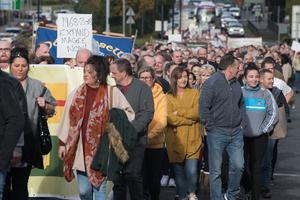 The Civil Rights March marking the 1968 march makes its way along Duke Street in Derry's Waterside where it was stopped fifty years ago. Picture Martin McKeown. Inpresspics.com. 06.10.18
