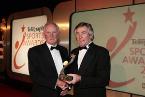 Press Eye - Belfast - Northern Ireland - 19th January 2009 -   Belfast Telegraph Sports Awards sponsored by Magners. 11. Belfast Telegraph Hall of Fame  Winner : Harry Gregg pictured with Sporting celebrity: Pat Jennings to present the award Picture by Kelvin Boyes / Press Eye. ///MUST USE ///  MUST USE///