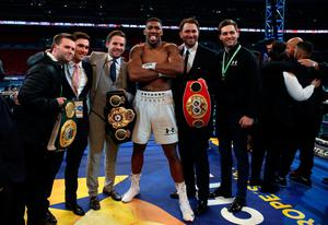 Anthony Joshua post fight with promoter Eddie Hearn following the IBF, WBA and IBO Heavyweight World Title bout against Wladimir Klitschko at Wembley Stadium, London. PRESS ASSOCIATION Photo. Picture date: Saturday April 29, 2017. See PA story BOXING London. Photo credit should read: Nick Potts/PA Wire