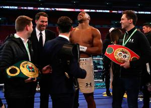 Anthony Joshua post fight with promoter Eddie Hearn (left) following the IBF, WBA and IBO Heavyweight World Title bout against Wladimir Klitschko at Wembley Stadium, London. PRESS ASSOCIATION Photo. Picture date: Saturday April 29, 2017. See PA story BOXING London. Photo credit should read: Nick Potts/PA Wire