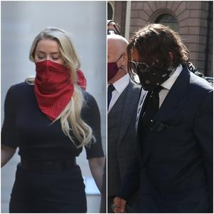 Amber Heard and Johnny Depp outside court (PA)