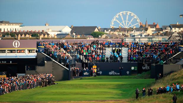 PORTRUSH, NORTHERN IRELAND - JULY 18: Darren Clarke of Northern Ireland plays the opening tee shot off the first tee during the first round of the 148th Open Championship held on the Dunluce Links at Royal Portrush Golf Club on July 18, 2019 in Portrush, United Kingdom. (Photo by Andrew Redington/Getty Images)