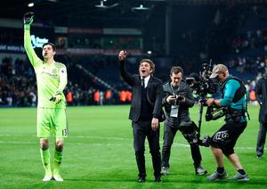 Chelsea manager Antonio Conte celebrates after the final whistle during the Premier League match at The Hawthorns, West Bromwich. Nick Potts/PA Wire.