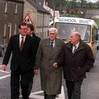 Pacemaker Bfst Ltd 4-3-98 Tommy Canavan(Right) Brother of Pub Owner with Ulster Unionist Leader David Trimble and SDLP Deputy Leader Seamus Mallon in Poyntzpass were they visited the Two Familys of the men killed.