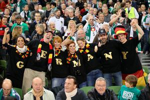 DUBLIN, IRELAND - OCTOBER 08:  German fans during the UEFA EURO 2016 Qualifier group D match between Republic of Ireland and Germany at the Aviva Stadium on October 8, 2015 in Dublin, Ireland.  (Photo by Ian Walton/Getty Images)