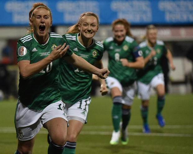 Rachel Furness celebrates scoring from the spot on a massive night for Northern Ireland football.