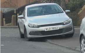 A white Volkswagen Scirocco car, registration YLZ 7052, which was discovered burnt out in nearby Kingston Court.