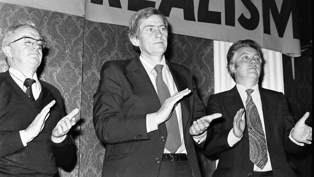 PACEMAKER BELFAST  ARCHIVE  9th November 1980 Seamus Mallon (centre) at SDLP annual Conference in Newcastle Co Down with Don Canning (left) and Kevin Murphy (right)