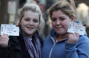 Northern Ireland- 7th December 2012 Mandatory Credit - Photo-Jonathan Porter/Presseye.  JLS, Girls Aloud and Mrs Brown tickets go on sale at Ticketmaster in Belfast City Centre.  People pictured queuing up for the tickets.  Left to right. Chloe Ashe and Rachael Hawthorne.