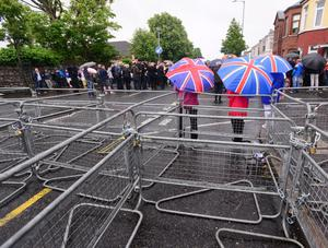 Metal barriers erected on the Crumlin Road during this year's Twelfth - one of the most peaceful Northern Ireland has experienced in years