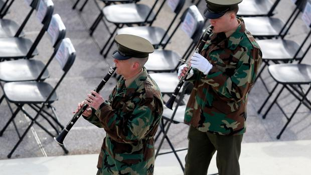 WASHINGTON, DC - JANUARY 19:  Members of a military band rehearses on the West Front of the U.S. Capitol on January 19, 2017 in Washington, DC. Donald J. Trump will be sworn in tomorrow as the 45th president of the United States.  (Photo by Joe Raedle/Getty Images)
