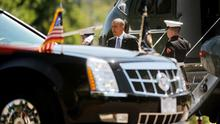 BETHESDA, MD  - JUNE 4:  U.S. President Barack Obama arrives at Walter Reed National Military Medical Center June 4 , 2013 in Bethesda, MD. Obama is visiting with  to visit with wounded warriors and their family members. (Photo by Olivier Douliery-Pool/Getty Images)