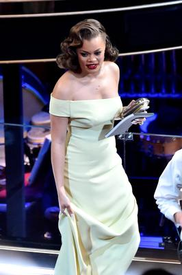 HOLLYWOOD, CA - FEBRUARY 28:  Singer Andra Day in the audience during the 88th Annual Academy Awards at the Dolby Theatre on February 28, 2016 in Hollywood, California.  (Photo by Kevin Winter/Getty Images)